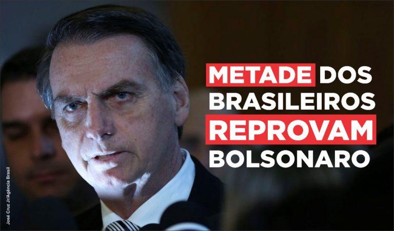 Metade dos brasileiros reprova atuação de Bolsonaro, diz Datafolha